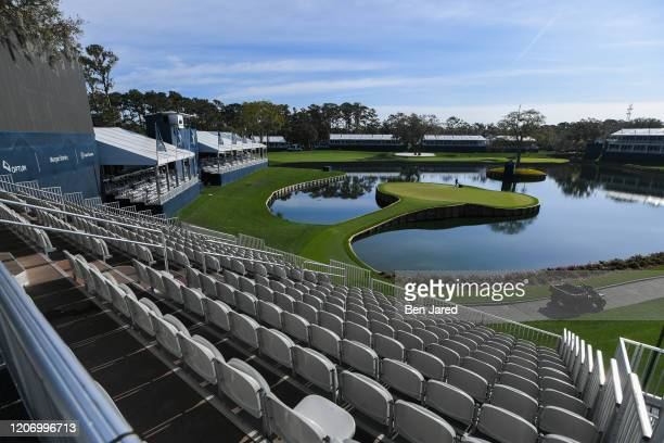 View of the 17th green empty during the second round of the canceled PLAYERS Championship on THE PLAYERS Stadium Course at TPC Sawgrass on March 13...