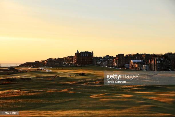 View of the 17th hole and the first and eighteenth hole of the Old Course at St Andrews taken from the Old Course Hotel on April 18, 2017 in St...