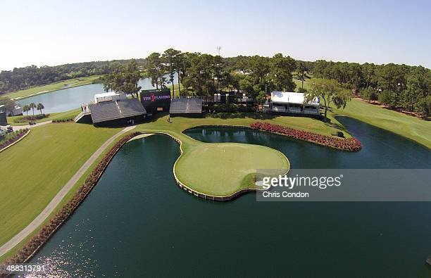 A view of the 17th hole during Monday's practice round at THE PLAYERS Championship on THE PLAYERS Stadium Course at TPC Sawgrass on May 5 2014 in...