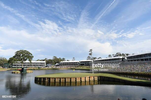 A view of the 17th hole during the second round of THE PLAYERS Championship on THE PLAYERS Stadium Course at TPC Sawgrass on May 12 in Ponte Vedra...