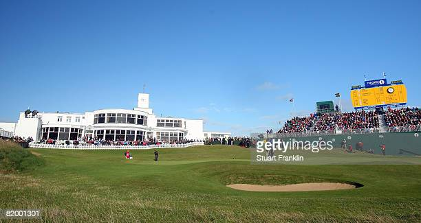 A view of the 18th green and clubhouse during the third round of the 137th Open Championship on July 19 2008 at Royal Birkdale Golf Club Southport...