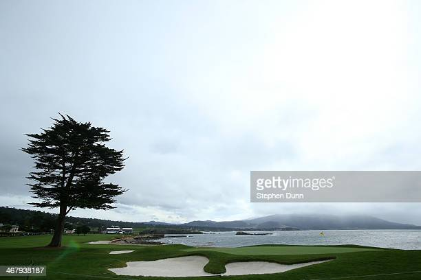 A view of the 18th green during a morning weather delay in the third round of the ATT Pebble Beach National ProAm at the Pebble Beach Golf Links on...