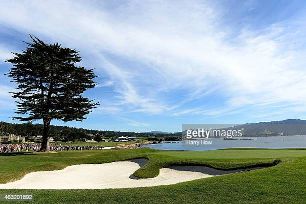 View of the 18th green during the 3M Celebrity Challenge before the ATT Pebble Beach National ProAm at the Pebble Beach Golf Links on February 11...