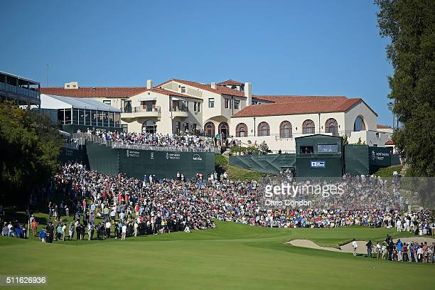 A view of the 18th green during the final round of the Northern Trust Open at Riviera Country Club on February 21 2016 in Pacific Palisades California
