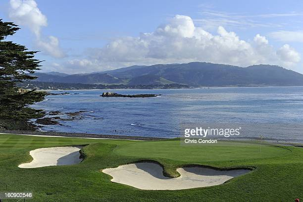 A view of the 18th green during the first round of the ATT Pebble Beach National ProAm at Pebble Beach Golf Links on February 7 2013 in Pebble Beach...
