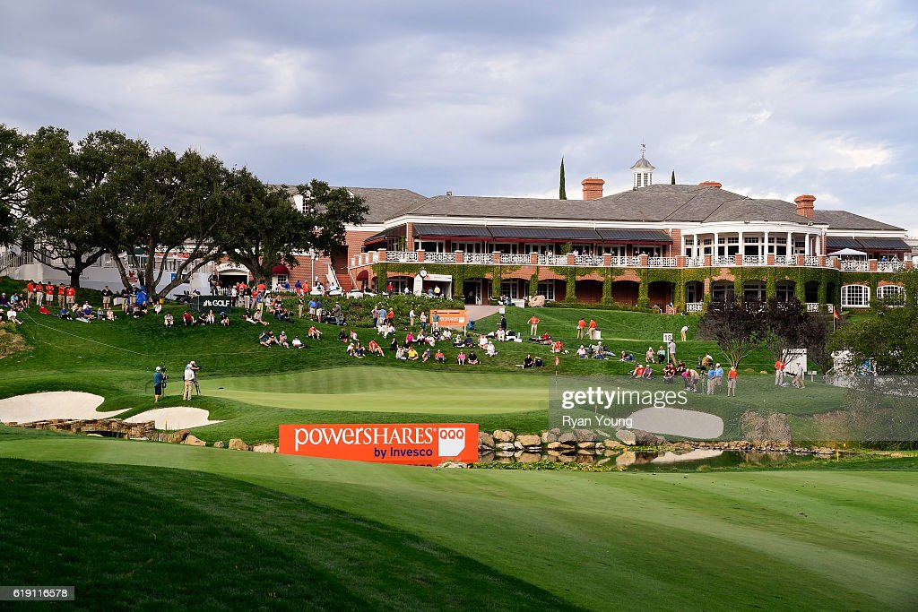 A view of the 18th green during the second round for the PGA TOUR Champions PowerShares QQQ Championship at Sherwood Country Club on October 29, 2016 in Thousand Oaks, California.