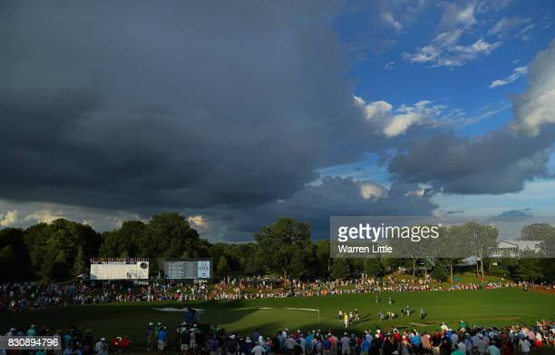 View of the 18th green during the third round of the 2017 PGA Championship at Quail Hollow Club on August 12, 2017 in Charlotte, North Carolina.
