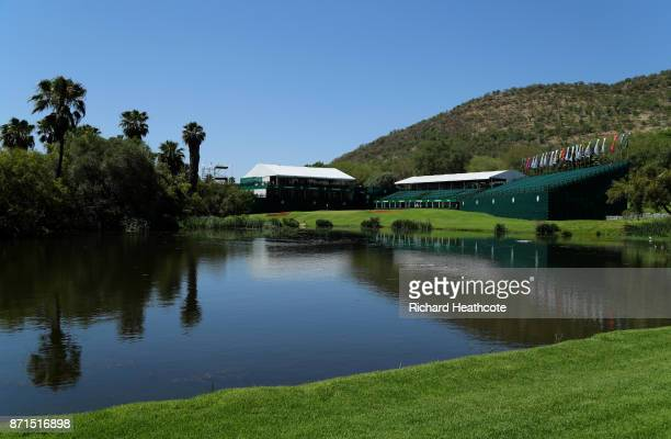 A view of the 18th hole ahead of the 2017 Nedbank Golf challenge at Gary Player CC on November 07 2017 in Sun City South Africa