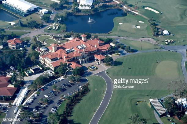 A view of the 18th hole and Clubhouse from THE PLAYERS blimp is seen during the first round of THE PLAYERS Championship on THE PLAYERS Stadium Course...