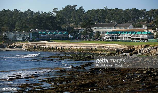 View of the 18th hole and Pebble Beach Lodge from the 18th tee during the ATT Pebble Beach ProAm