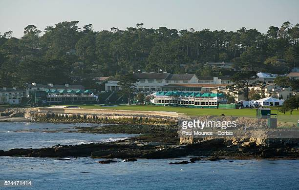 View of the 18th hole and Pebble Beach Lodge from the 7th tee during the ATT Pebble Beach ProAm