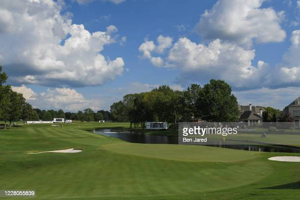 View of the 18th hole during the final round of the World Golf Championships-FedEx St. Jude Invitational at TPC Southwind on August 2 in Memphis,...
