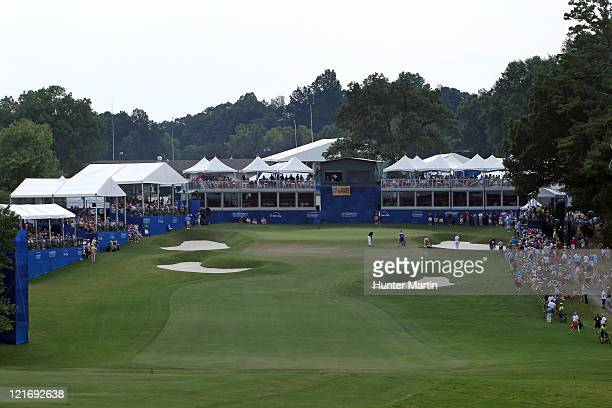 View of the 18th hole during the final round of the Wyndham Championship at Sedgefield Country Club on August 21, 2011 in Greensboro, North Carolina.