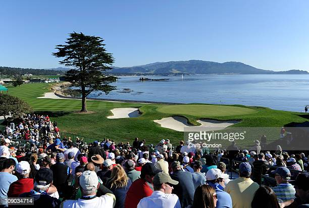 A view of the 18th hole during the third round of the ATT Pebble Beach National ProAm at Pebble Beach Golf Links on February 12 2011 in Pebble Beach...