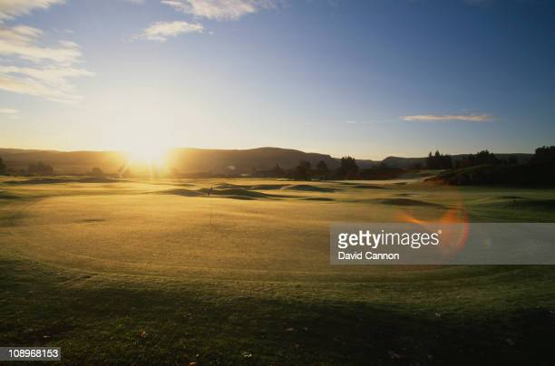 View of the 18th hole on the Queen's Course at the Gleneagles Hotel, near Auchterarder, Scotland, circa 1990.