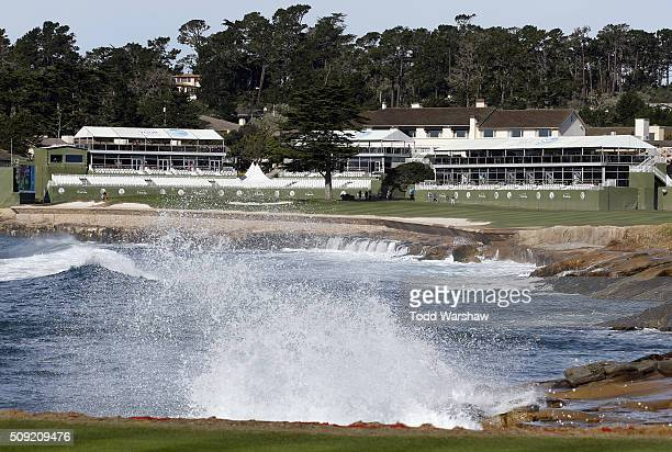 A view of the 18th hole prior to the ATT Pebble Beach National ProAm at Pebble Beach Golf Links on February 9 2016 in Pebble Beach California