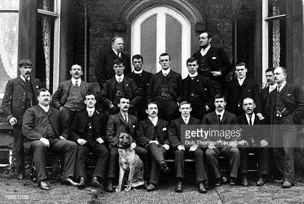 View of the 19021903 Bury FC team that beat Derby County FC 60 to win the 1903 FA Cup Final at Crystal Palace on 18th April 1903 The winning Bury FC...