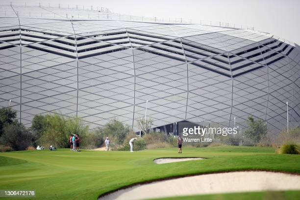 View of the 1st green with the Khalifa International Stadium in the background during Day One of the Commercial Bank Qatar Masters at Education City...