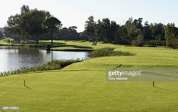 A view of the 1st hole from the 1st tee during the thrd round of the PGA Play Offs at Antalya Golf Club PGA Sultan Course on November 29 2015 in...