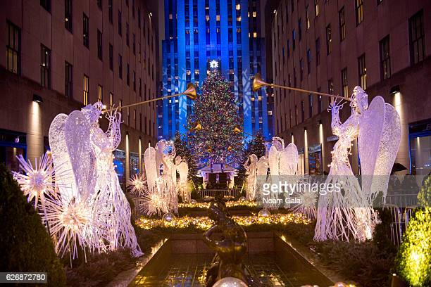 A view of the 2016 Rockefeller Center Christmas Tree as seen during the 84th Rockefeller Center Christmas Tree Lighting ceremony at Rockefeller...