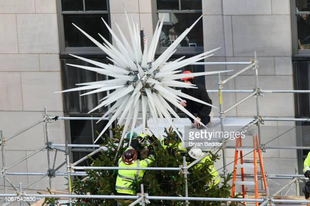 A view of the 2018 Swarovski Star atop the Rockefeller Center Christmas Tree during the unveiling by Daniel Libeskind and Nadja Swarovski on November...