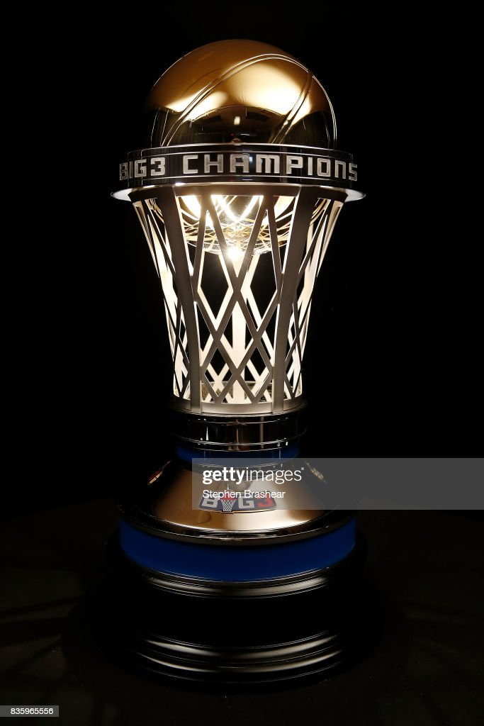 A view of the 24 karat gold 2017 BIG3 Championship trophy, crafted by S. R. BLACKINTON, makers of the Kentucky Derby trophy for over 40 consecutive years, revealed for first time at the BIG3 Playoffs at KeyArena on August 20, 2017 in Seattle, Washington.