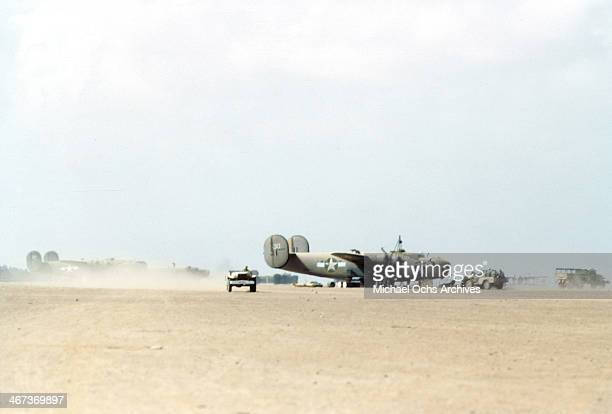 A view of the 376th Bombardment Groups working on B24Liberators at the US Air Force Base in Benghazi Libya