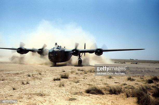 A view of the 389th Bombardment Group flying a B24 Liberator at the US Air Force base in Benghazi Libya