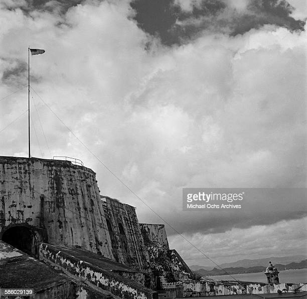 A view of the 42 foot wall wall that surrounds Old San Juan in San Juan Puerto Rico