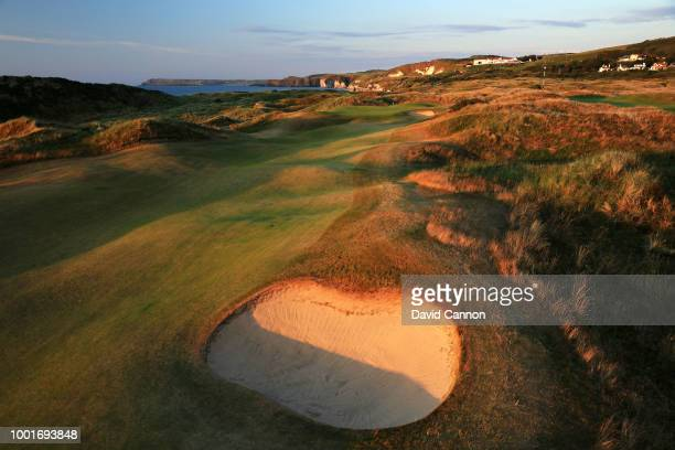 View of the 430 yards par 4, 'Dunluce' on the Dunluce Links at Royal Portrush Golf Club the venue for The Open Championship 2019 on July 2, 2018 in...