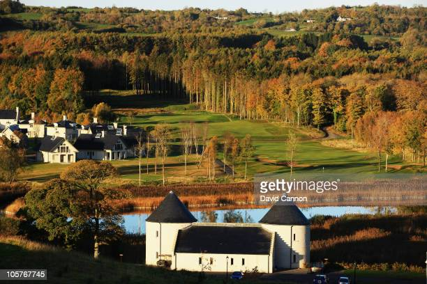 View of the 550 yards par 5, 4th hole 'Magheraboy' on the Faldo Championship Course at Lough Erne Resort on October 20, 2010 in Enniskillen, Northern...