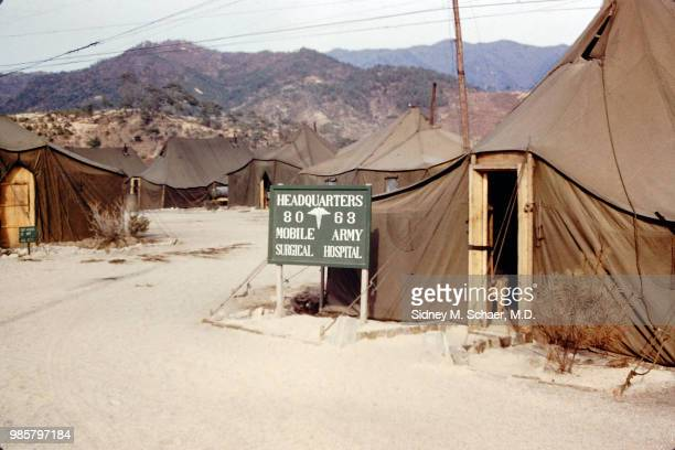 View of the 8063rd MASH headquarters tent South Korea January 1952