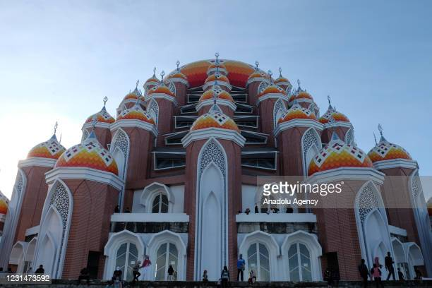 View of the 99-dome mosque building located in the reclamation area of Losari Beach in Makassar, South Sulawesi, Indonesia on March 2, 2021. The...