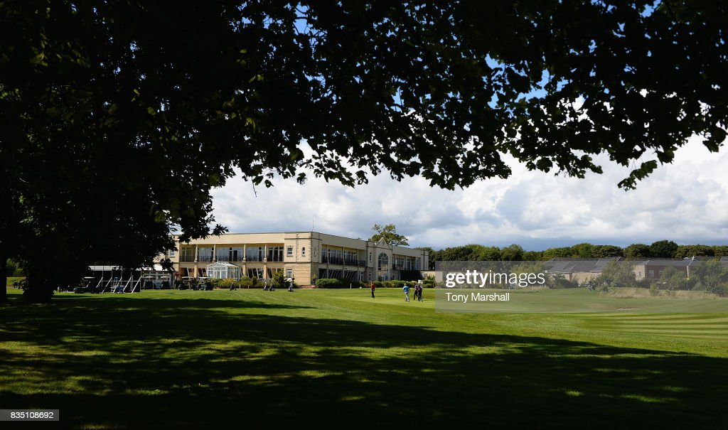A view of the 9th green and the club house during the Golfbreaks.com PGA Fourball Championship - Day 3 at Whittlebury Park Golf & Country Club on August 18, 2017 in Towcester, England.