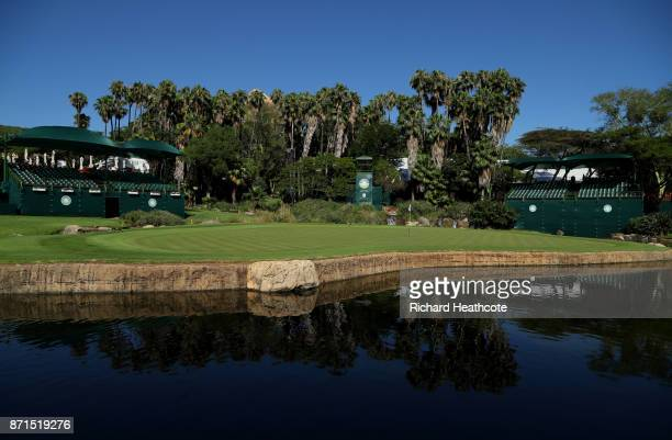 A view of the 9th hole ahead of the 2017 Nedbank Golf challenge at Gary Player CC on November 07 2017 in Sun City South Africa