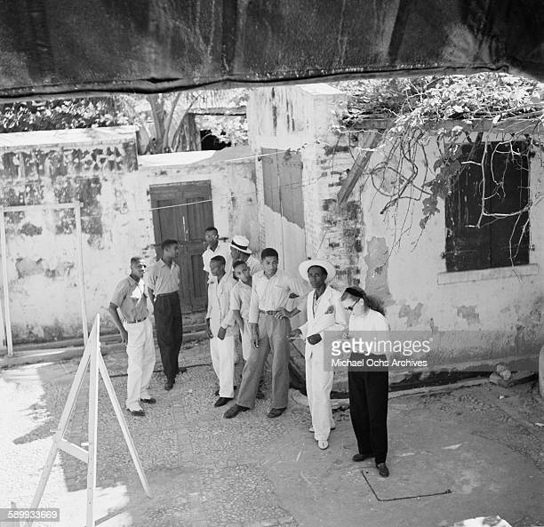 A view of the a group of men standing in PortauPrince Haiti