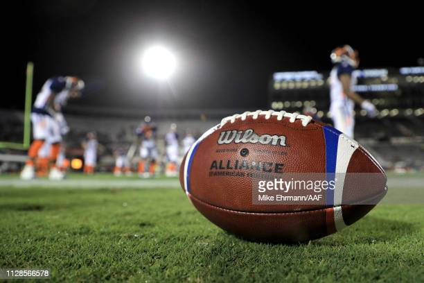 A view of the AAF official game ball prior to the game between the Orlando Apollos and the Atlanta Legends on February 09 2019 in Orlando Florida