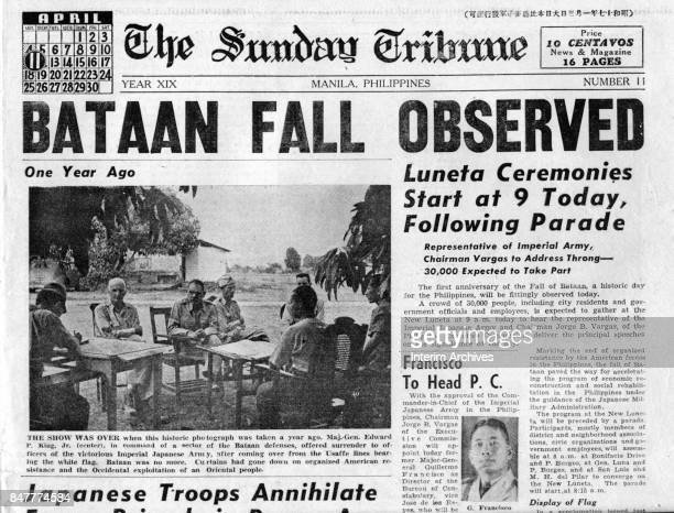 View of the 'abovethe fold' front page of 'The Sunday Tribune' with headlines that detail the oneyear anniversary of the fall of Bataan Manila...