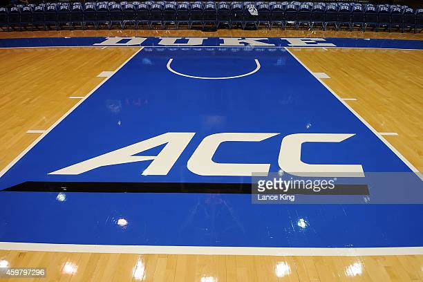 A view of the ACC logo at Cameron Indoor Stadium on November 30 2014 in Durham North Carolina