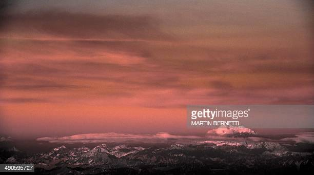 View of the Aconcagua mountain in the province of Mendoza Argentina as see from Santiago Chile on May 14 2014 The Aconcagua with a height of 6962...