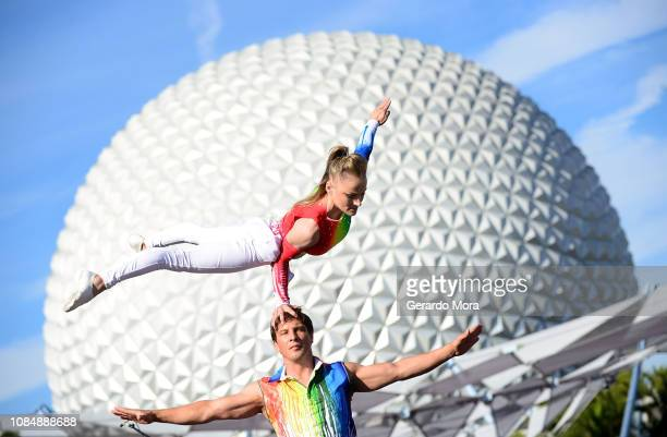 A view of the acrobatic show ' Art Defying Gravity' during 2019 Epcot International Festival Of The Arts at the opening day at Epcot Center at Walt...