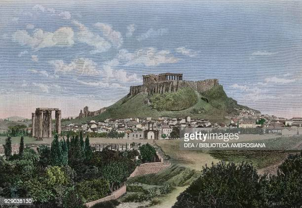 View of the Acropolis below the arch of Hadrian Athens Greece illustration from Histoire des grecs volume 1 Formation du peuple grec by Victor Duruy...