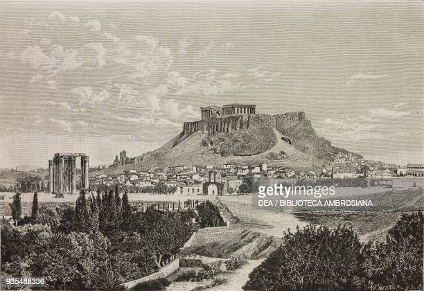 View of the Acropolis below the arch of Hadrian Athens Greece illustration from Histoire des grecs volume 1 Formation du peuple grec by Victor Duruy