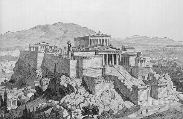 View of the Acropolis of Athens, Greece, around 420...