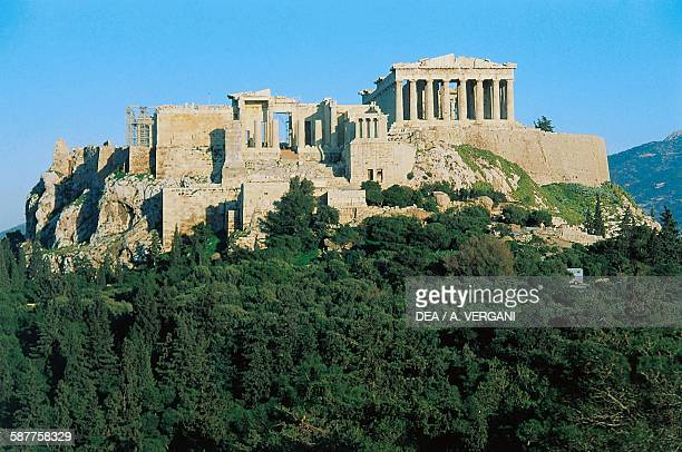 View of the Acropolis with the Parthenon and the Propylaea from Philopappou hill Athens Greece Greek civilisation 5th century BC