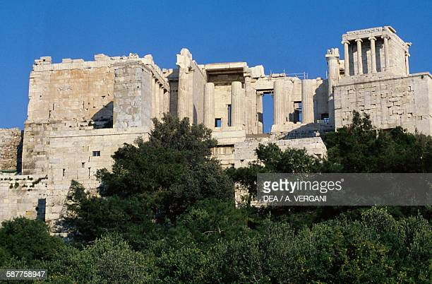View of the Acropolis with the Propylaea with the Temple of Athena Nike on the right Athens Greece Greek civilisation 5th century BC