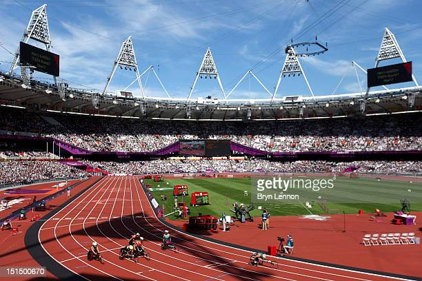 A view of the action during the Men's 4 x 400m Relay T53/54 heats on day 10 of the London 2012 Paralympic Games at Olympic Stadium on September 8...