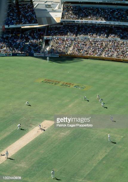 A view of the action from a floodlight tower as Australia start their second innings of the 5th Test match between Australia and England at the WACA...