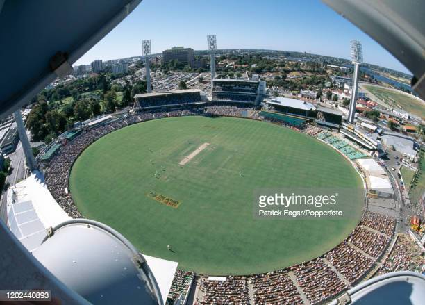 A view of the action from a floodlight tower during the 5th Test match between Australia and England at the WACA Perth Australia 5th February 1995...