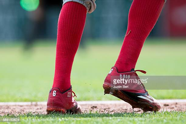 A view of the Adidas baseball shoes worn by Billy Hamilton of the Cincinnati Reds during the game against the Pittsburgh Pirates at PNC Park on...